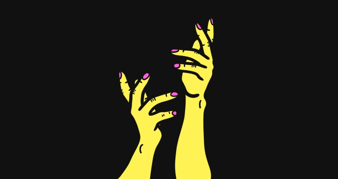 Two yellow hands, with pink fingernails, held up in contemplation and query.