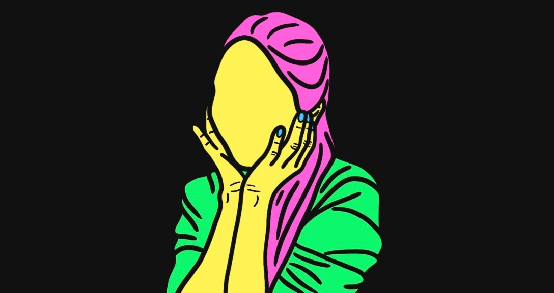 Yellow person leaning on both palms of their hands. They have long pink hair and is wearing a green top.