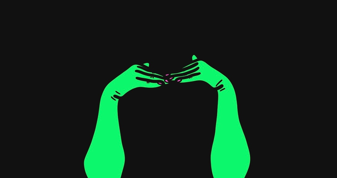 A pair of green hands with fingers pointed against one another, and neon pink nails.