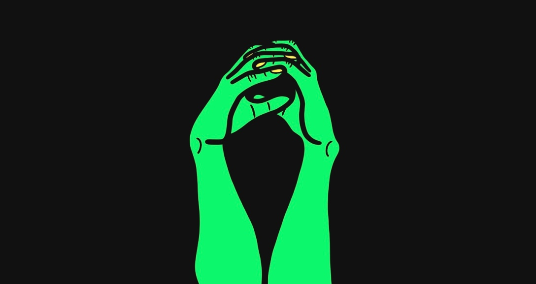 A pair of green hands with the fingers curled to create a circle in the middle, as if to represent the world. Their nails are painted neon yellow.