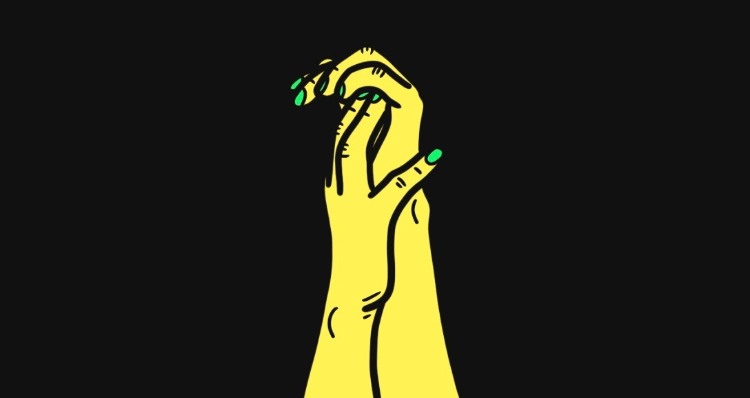 A yellow hand grabs onto the palms of the other yellow hand, as their fingers curls. Their nails are painted neon green.