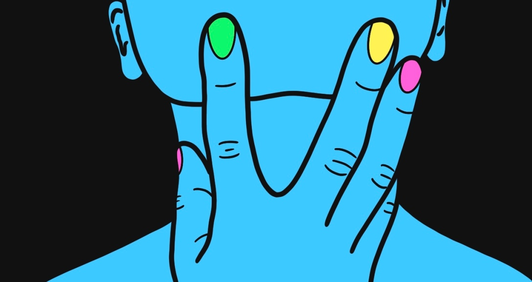 A blue face showing with one hand held against the chin. Their nails are painted neon pink, green and yellow.