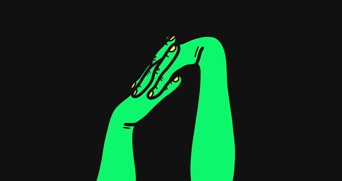 Two green hands with fingers interlocking as they lean to the left. Their nails are painted neon yellow.