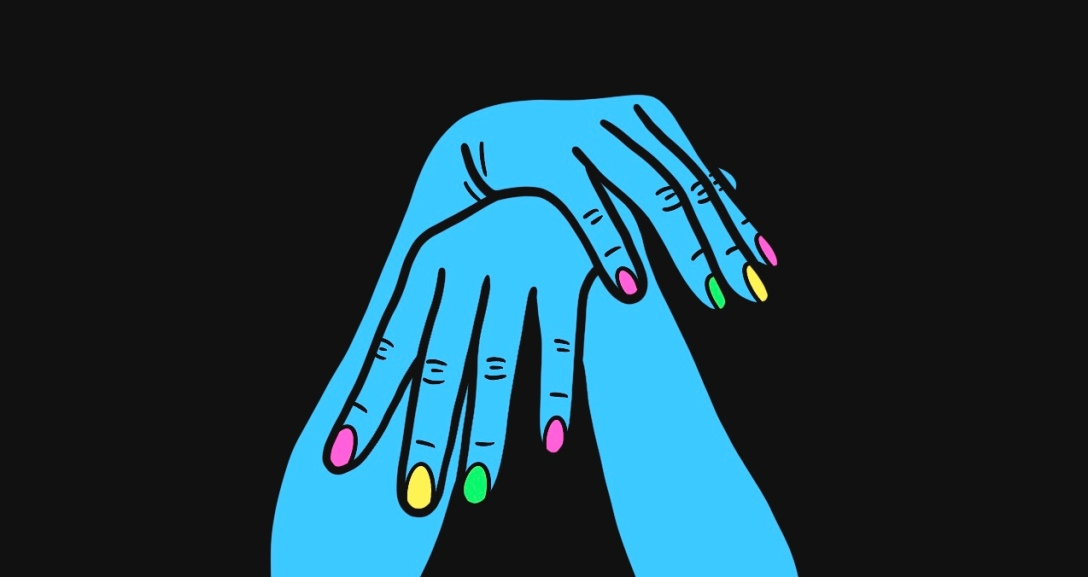 Pair of blue hands laying limp on top of each other. Their nails are painted neon pink, yellow and green.