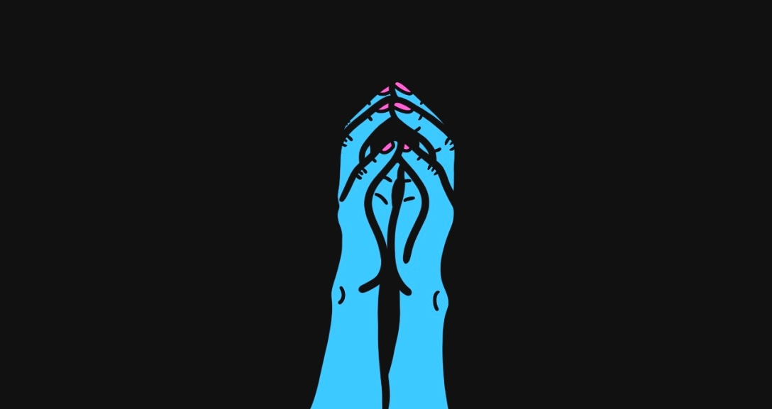 Two blue hands with all fingertips pressed together, their nails painted neon pink.