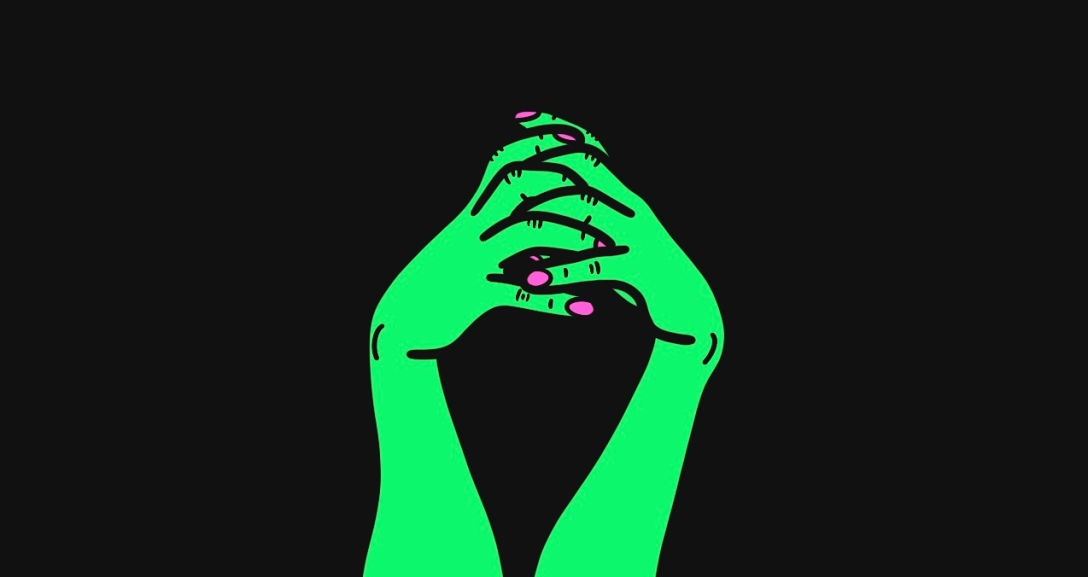 A pair of green hands with fingers interlocked and entangled between each other - their nails are painted neon pink.