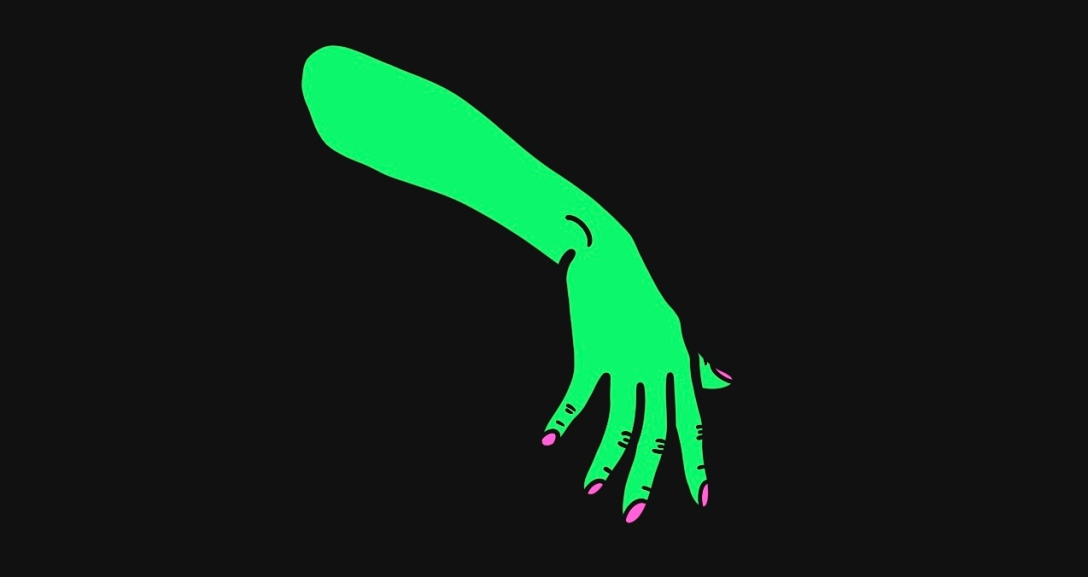 A green arm held out limply with the fingers spread out widely, their nails painted neon pink.