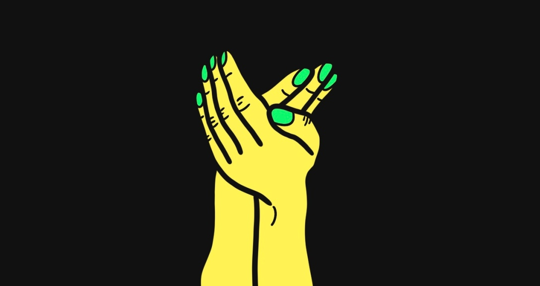 A pair of yellow hands resting on one another, with their nails neon green.