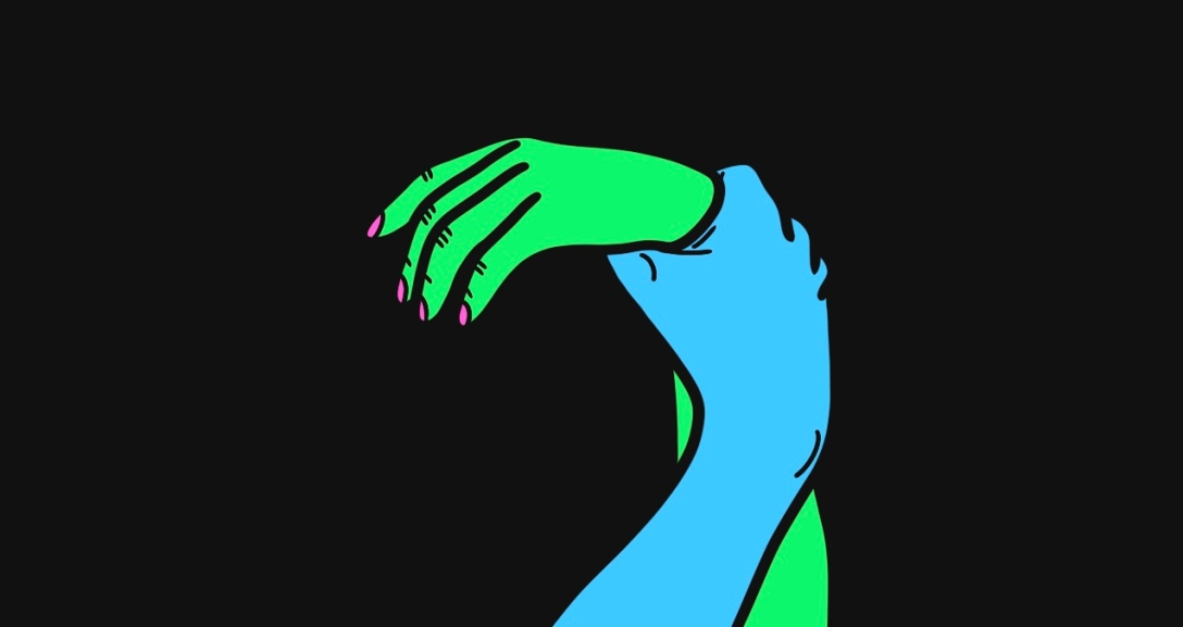 In a black background, there is a blue hand holding onto the wrist of green hand, who is hanging limply, with their nails painted neon pink.
