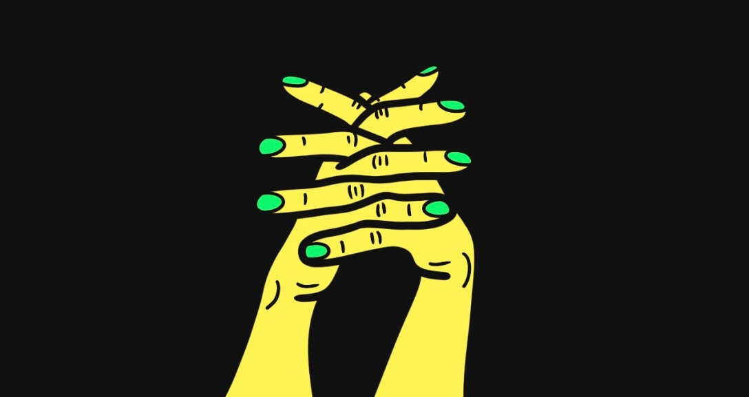 The background is black and there is a pair of yellow hands with fingers interlaced between one another, their nails painted neon green at the centre of the image.
