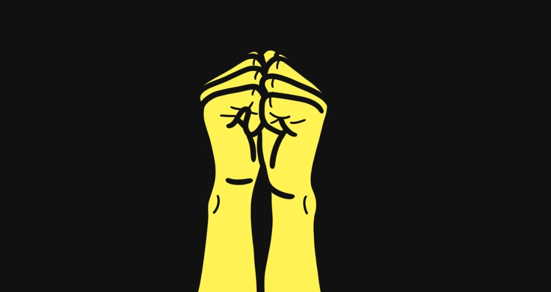 In a black background, there is a pair of yellow hands with fingers curled into their palms, knuckles touching each other.