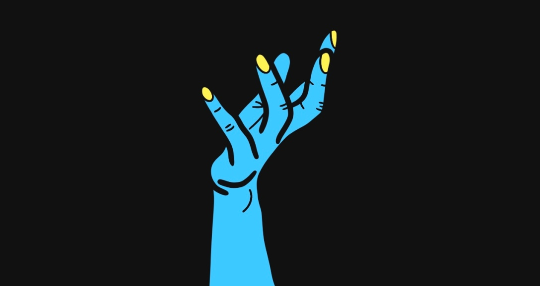 In a black background, there is a blue hand held up as if making an offer, with fingers curled. Their nails are painted neon yellow.
