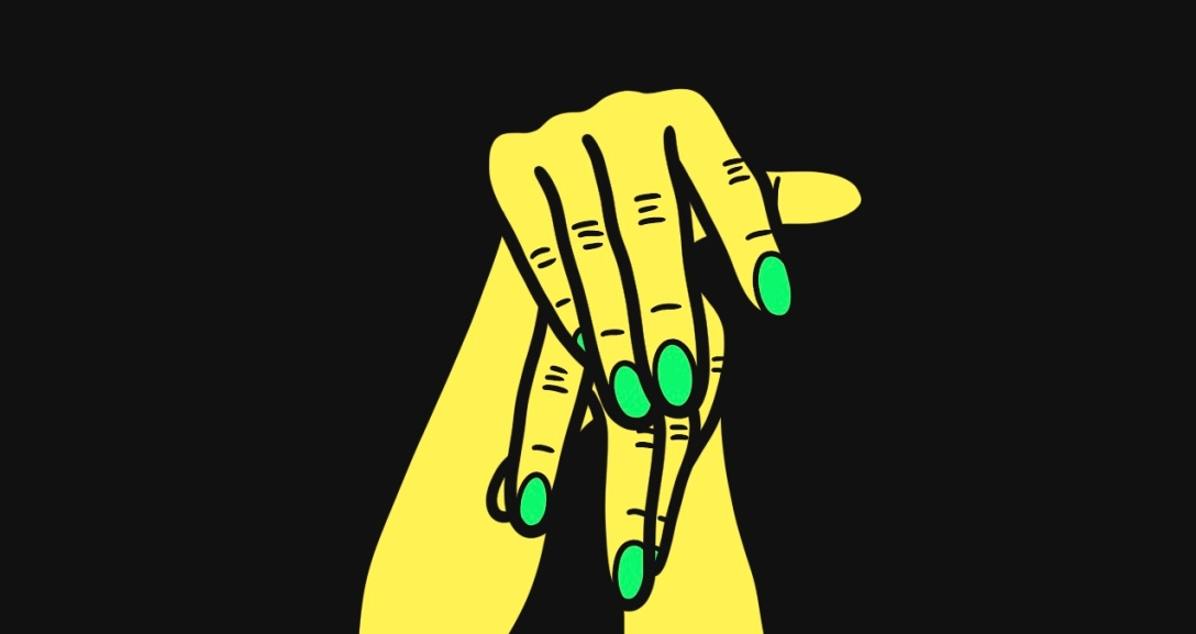 There is a black background and at the centre there is a pair of yellow hands with fingers hanging limply over one another, their nails painted neon green.