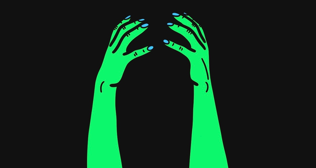 There is a black background and at the centre there is a pair of green hands curled as if they are clutching onto their head, their nails painted neon blue.