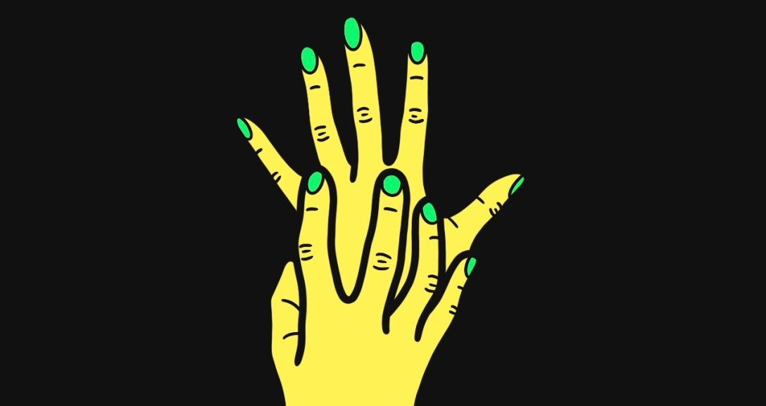 In the black background, there is a yellow hand held up with fingers spread out, and another yellow hand clawing at the hand - their nails painted neon green.