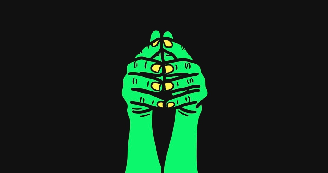 There is a black background with a pair of green hands with fingers stretched towards you. Their fingertips are pressed together and their nails are neon yellow.