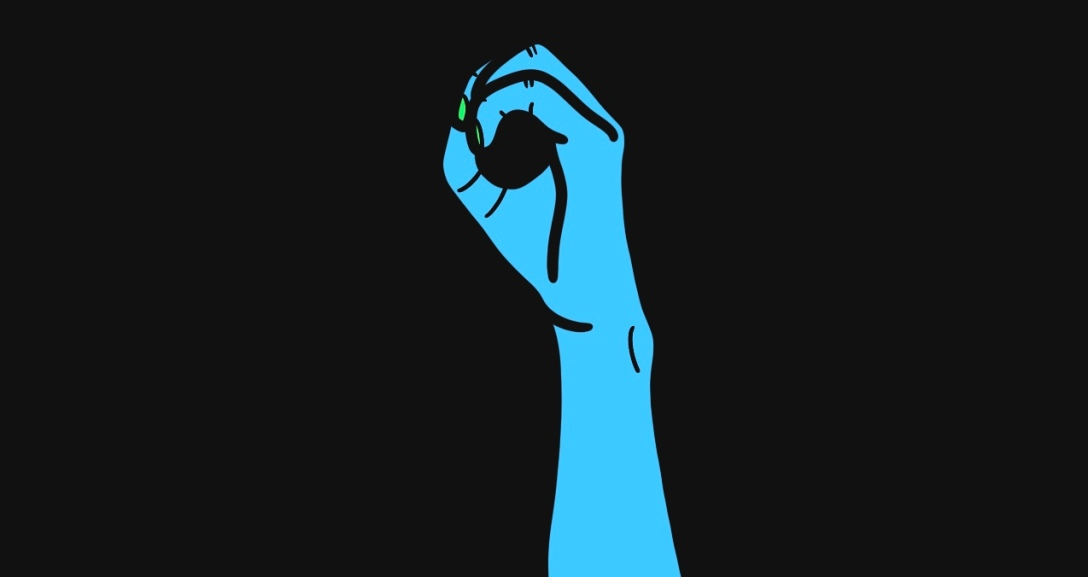 """There is a black background and at the centre there is a blue hand with fingers curled into an """"eyehole"""" shape, their nails painted neon green."""