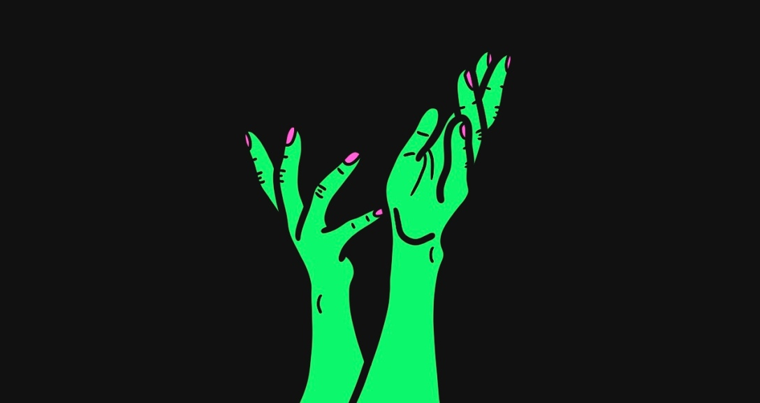 There is a black background with a pair of green hands at the centre, with fingers curved in different directions in a talking manner. Their nails are painted neon pink.