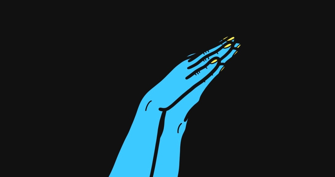 The image shows a black background with a pair of blue hands at the centre, palms and fingers pressed together as if in sleeping motion, their nails painted a neon yellow.