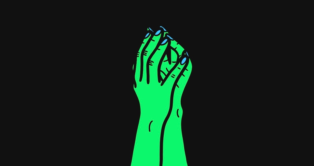 The image shows a black background with a pair of green hands and blue fingernails, fingers pressed together with their palms slightly touching.