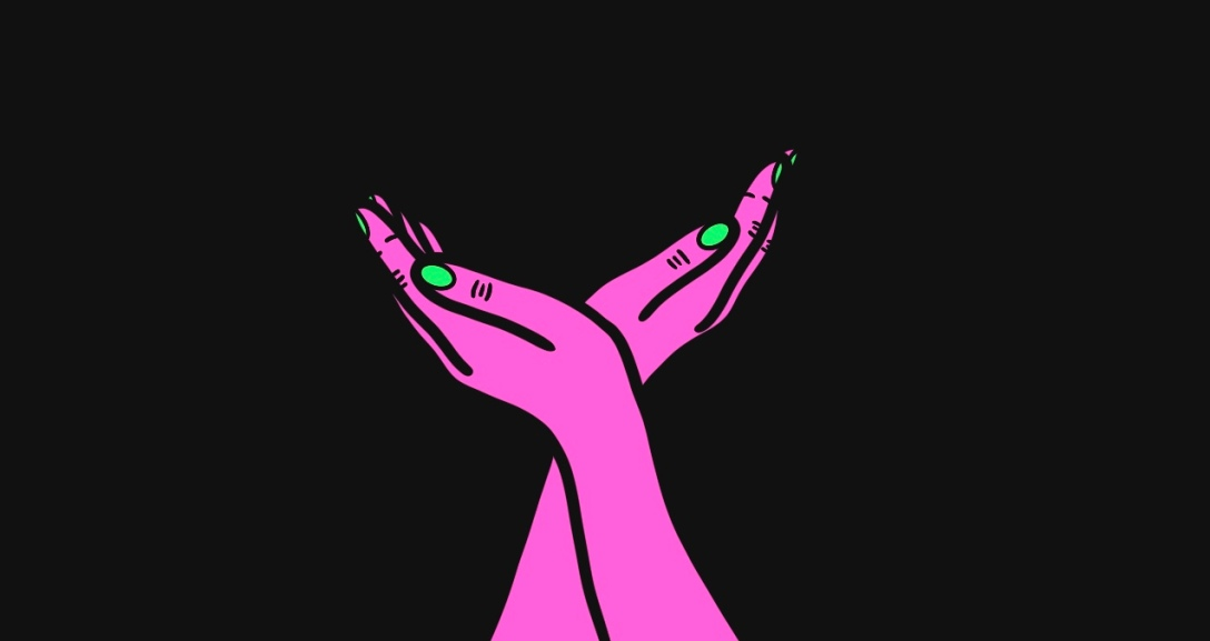 The image shows a black background with a pair of pink hands with neon green fingernails. The hands appear as mirror images of each other, palm held out as if in offering.