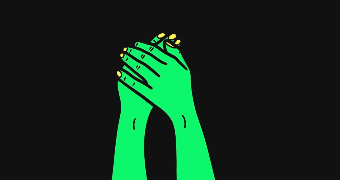 The image shows a black background with a pair of green hands and neon yellow nails with one hand is holding onto the back of the other.