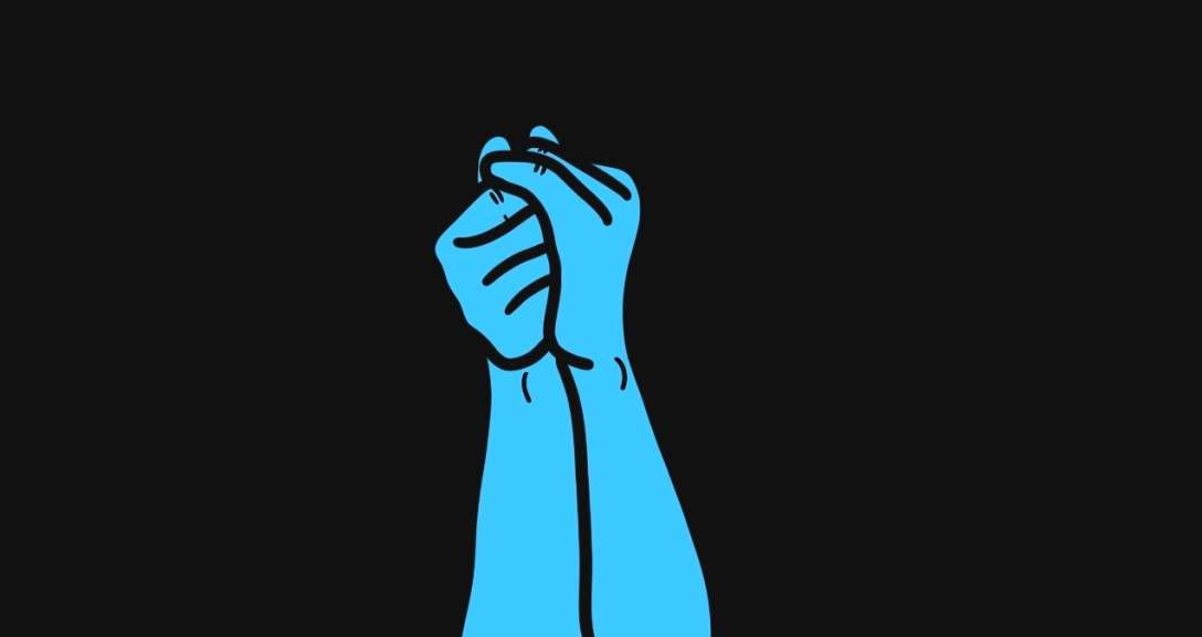 The image shows a black background with a pair of blue hands holding onto one another tightly into a fist.