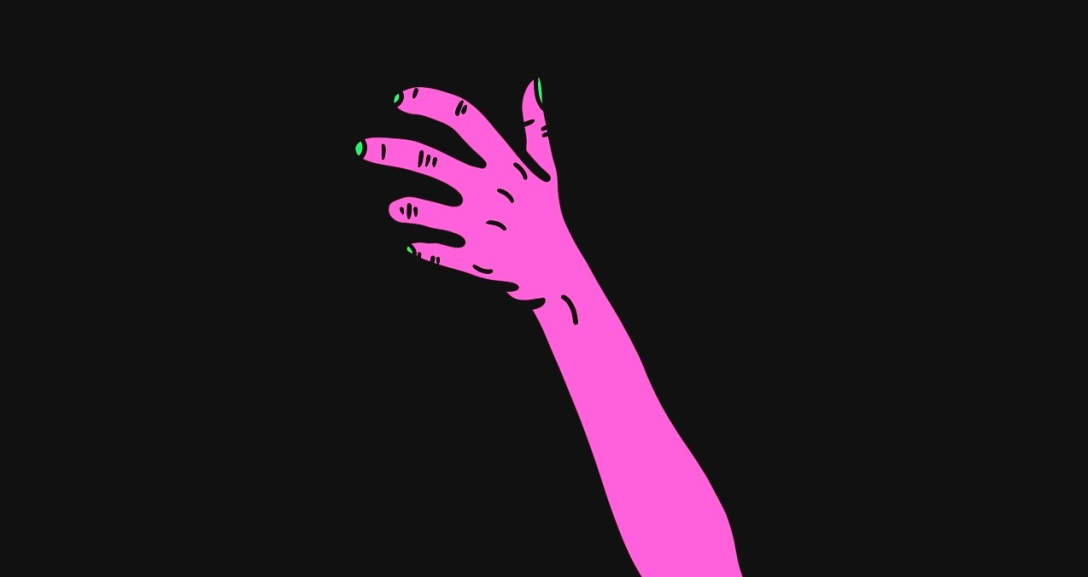 The image shows a black background with the back of a pink hand in a clawing motion with neon green fingernails.