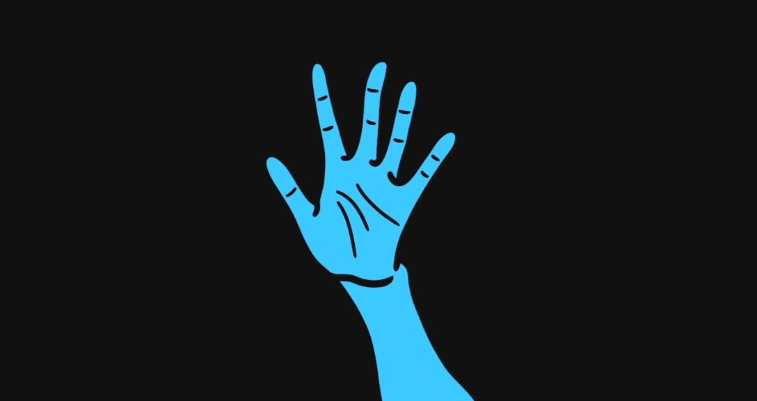 The image shows a black background with a blue hand held up, palm facing you as if in a stop motion.