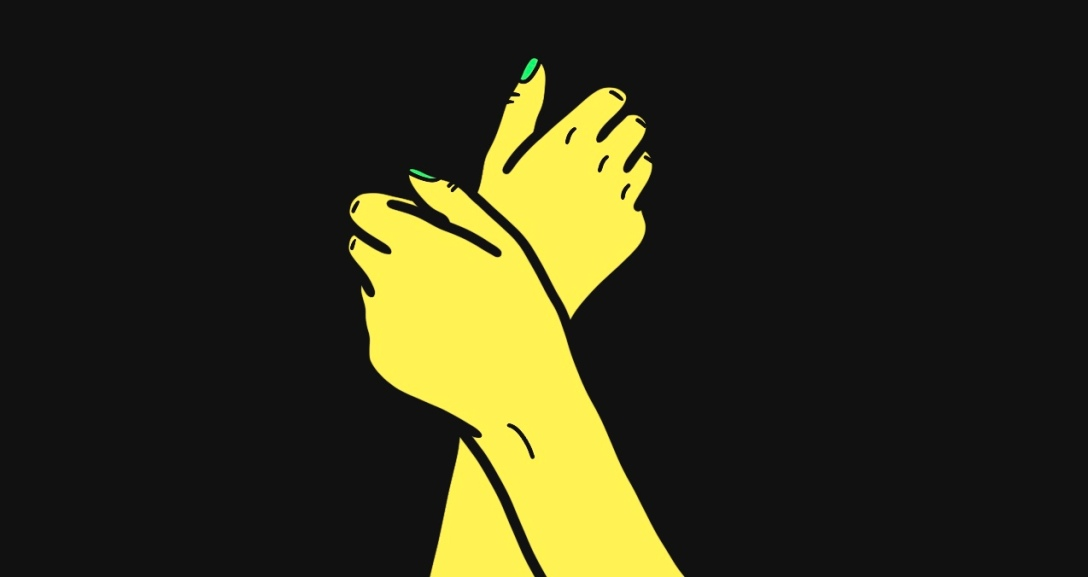 The image shows a black background with a pair of yellow hands crossing over one another at the wrists as if clutching at something important. Their nails painted neon green.
