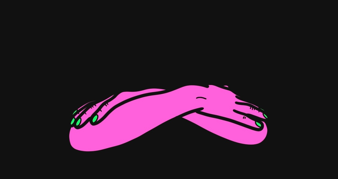 The image shows a black background with a pair of pink arms, crossed over one another with neon green fingernails.