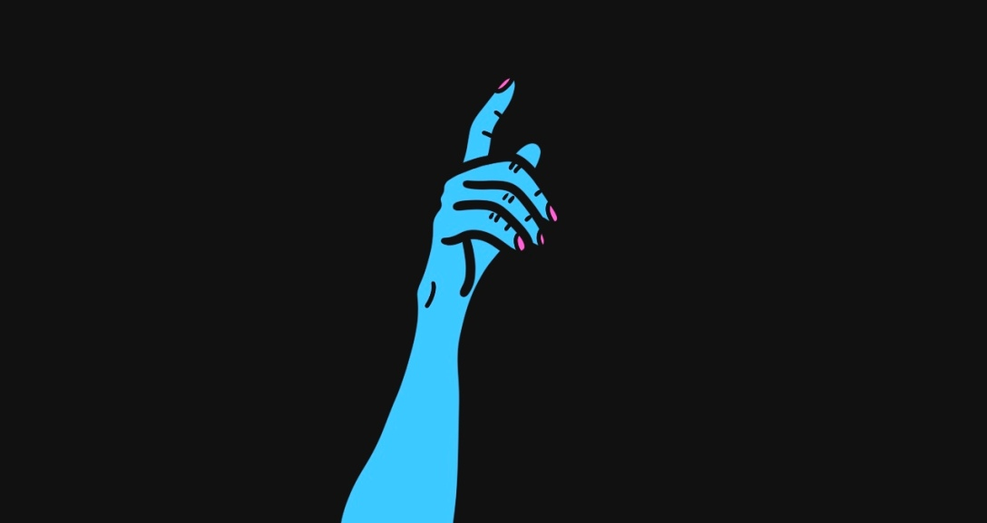 The image shows a black background with a blue hand, index finger pointing up and neon pink nails.