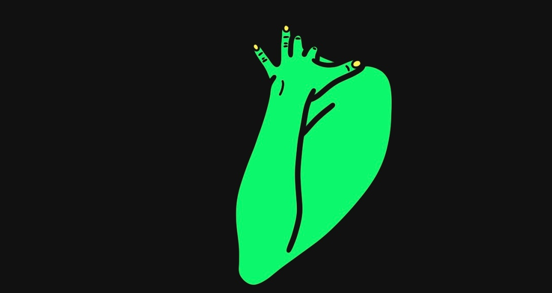 The image shows a black background with one green arm at the centre, fingers pressed against their shoulder, nails painted neon yellow.