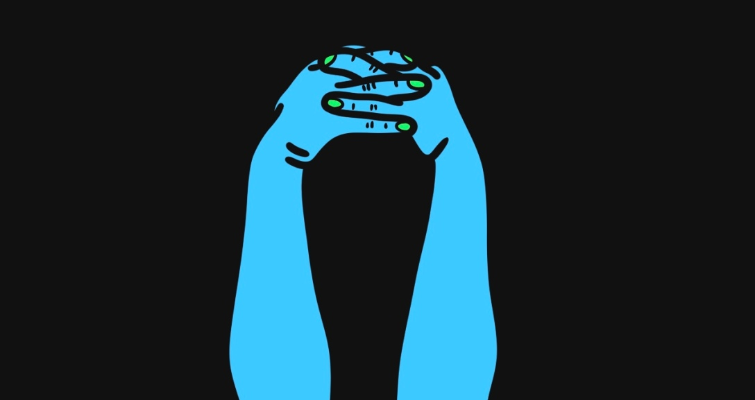 The image shows a black background with a pair of blue hands interlocked with another whilst the elbow rest on a flat surface as if in contemplation, their nails painted neon green.